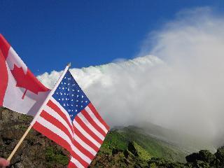 new york, niagara falls, flags