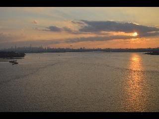 new york, new york city, sunset