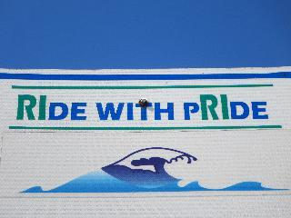 rhode island, greenwich, ride with pride sign