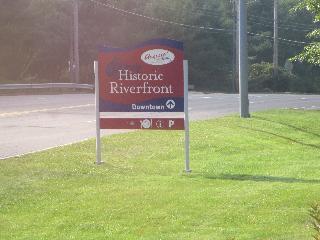 maine, augusta, augusta historic riverfront sign