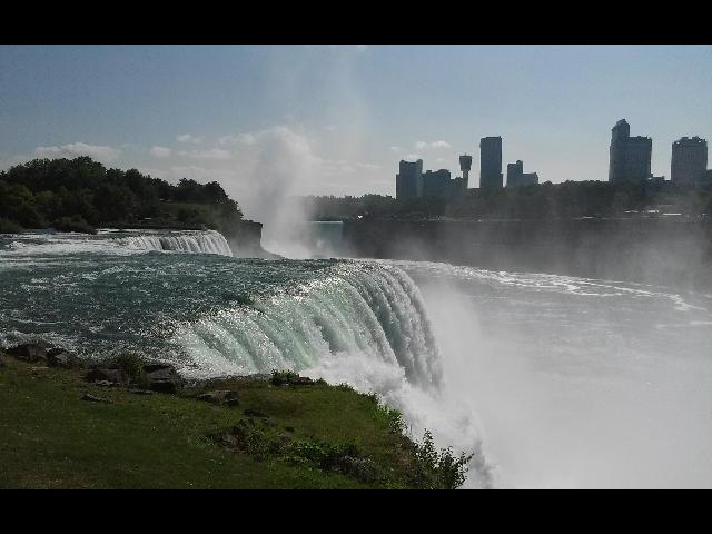 Niagara Falls from the park. To see the real beauty of the falls, take the Maid of the Mist boat. It is amazingly beautiful.