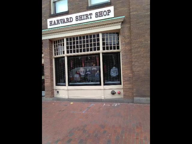 This is one of Harvard University clothing shops  in the community.