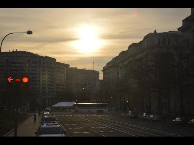 Sun over morning streets of District of Columbia