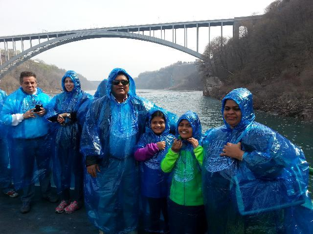 Me and my family in Maid of mist journey at Niagara falls on 5th May 2015