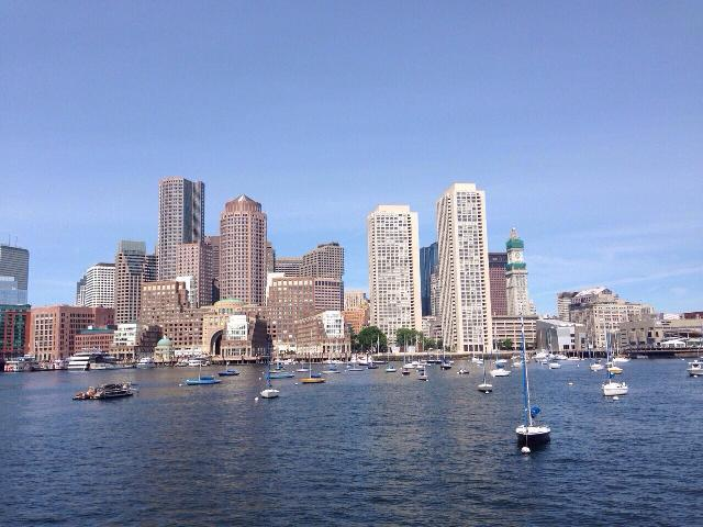 Boston's view from Boston Harbor Cruise