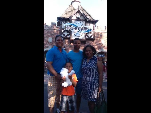 With my family at Hershey Park. We had a wonderful time.