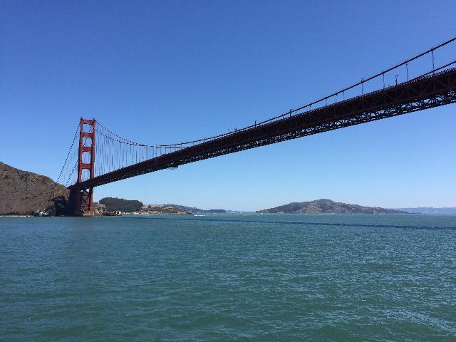 View of Golden Gate Bridge from cruise tour