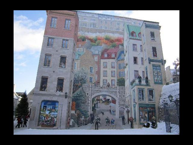A painted building in Old Quebec City