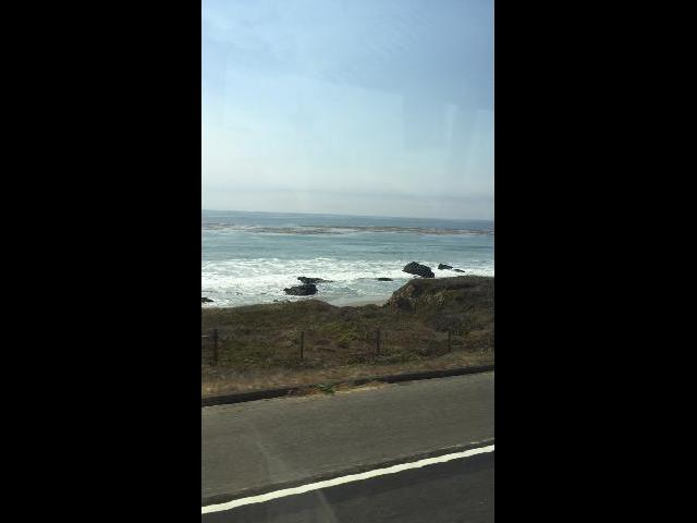 View from bus driving on PCH