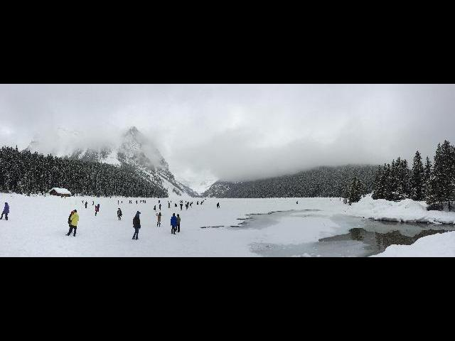 Before the ice melting at Lake Louise