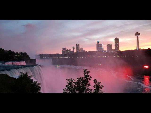Niagara Falls illumination, thats Canada on the opposite side