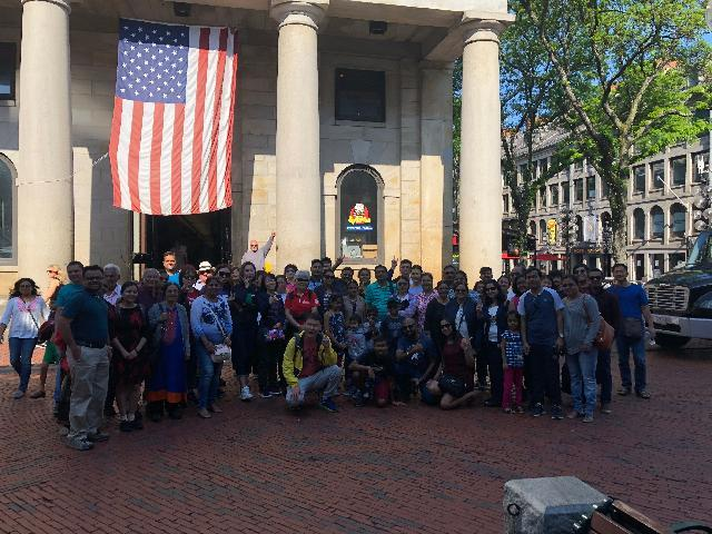 Group picture with our tour guide Ricky clicked at Quincy Market - Boston on 29th May 2018