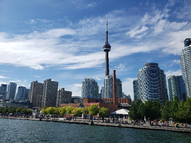 CN tower from the Toronto harbor cruise