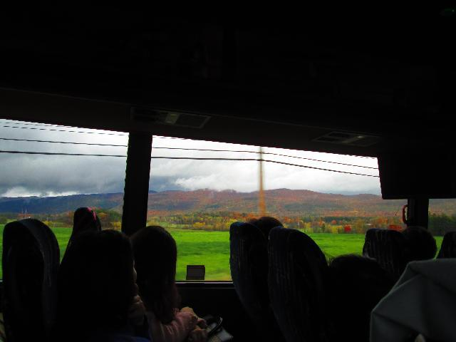 From inside the bus
