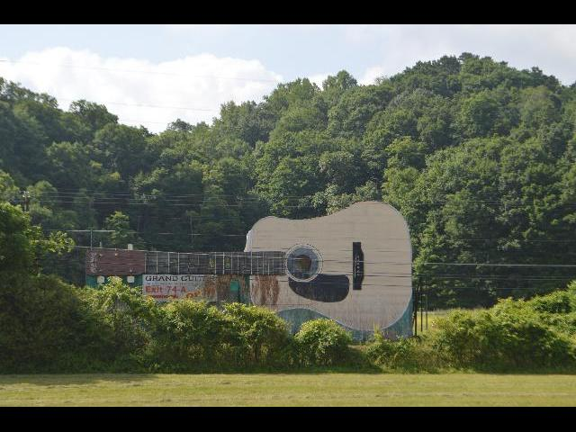 "The ""Grand Guitar"" music store and museum building built in 1983 in Bristol, Tennessee USA"