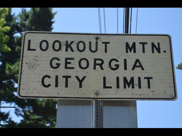 Lookout Mtn. Gerogia City Limit street sign on the Georgia side of the Tennessee, Georgia state line