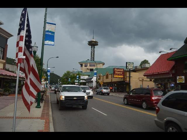 The American Flag flying in the city of Gatlinburg, Tennessee USA