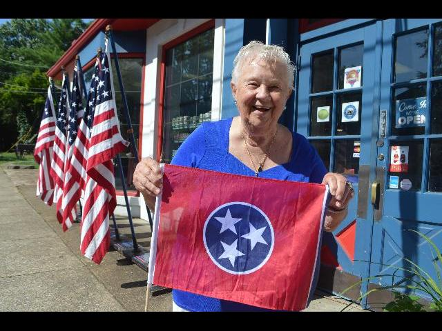 Waving the Flag of Tennessee at The Battles for Chattanooga Electric Map and Museum on Lookout Mountain in Chattanooga Tennessee USA