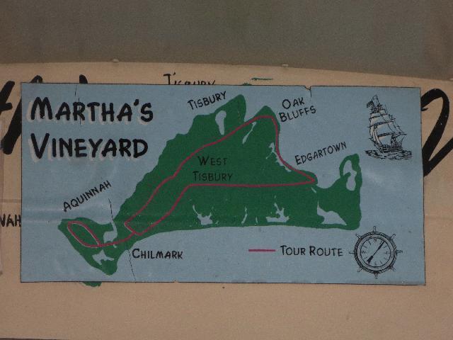 Bus tour map of  Martha's Vineyard Island Massachusetts USA