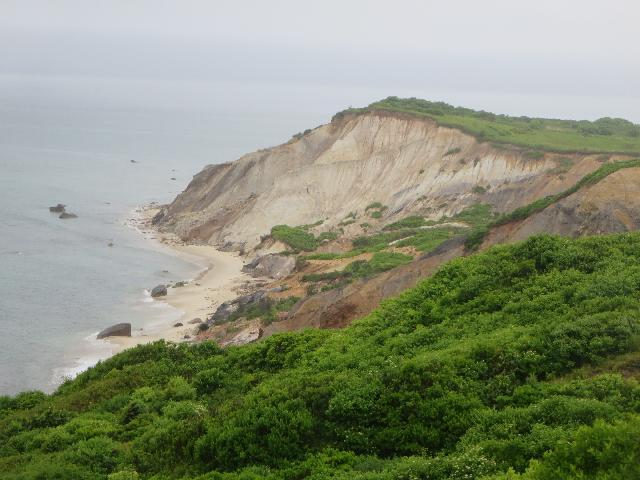 Gay Head Clay Cliffs at the Atlantic Ocean Moshup Beach on Martha's Vineyard Island in the town of Aquinnah Massachusetts USA