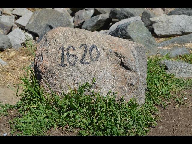 1620 rock at the Mayflower II 17th-century Pilgrim ship in Plymouth, Massachusetts, USA