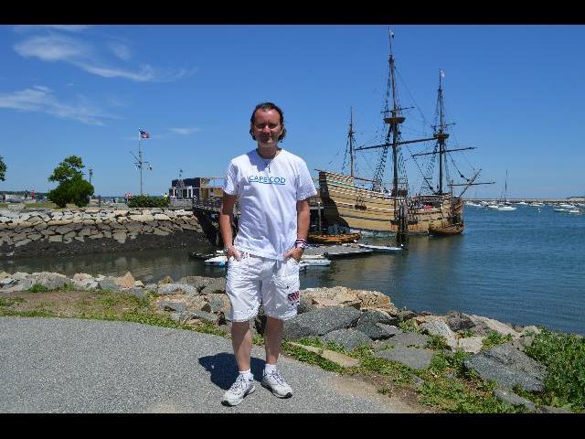 At the Mayflower II 17th-century 1620 Pilgrim ship in Plymouth, Massachusetts, USA