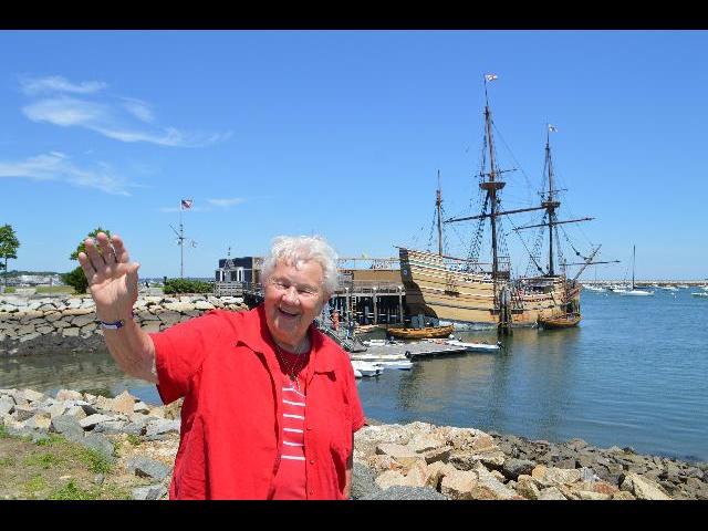 Waving hello from the Mayflower II 17th-century 1620 Pilgrim ship in Plymouth, Massachusetts, USA
