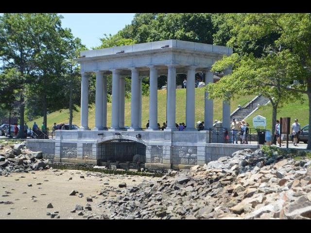 Plymouth Rock of 1620 in Plymouth, Massachusetts USA