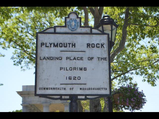 Plymouth Rock Landing Place of the Pilgrims 1620 plaque in Plymouth, Massachusetts USA