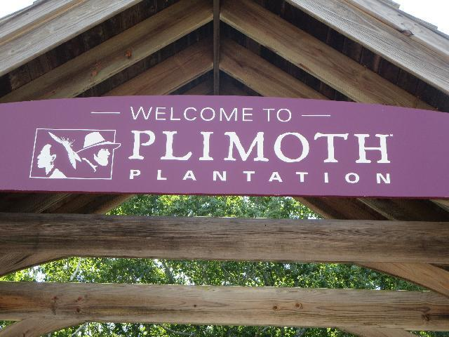 Welcome to Plimoth Plantation living history museum entrance sign in Plymouth, Massachusetts, USA