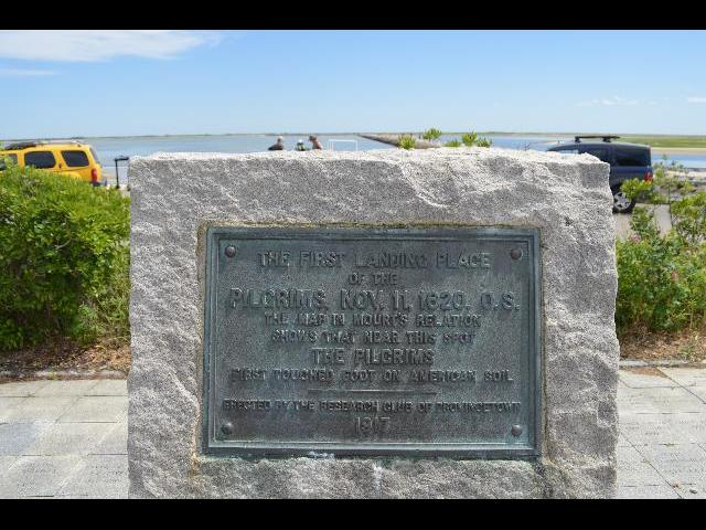 The Pilgrims' First Landing Park of 1620 bronze plaque in Provincetown, Cape Cod, Massachusetts USA