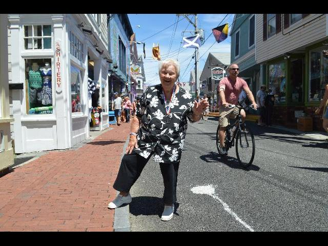 Waving hello from Commercial Street in Provincetown, Cape Cod, Massachusetts USA