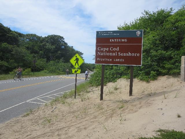 Entering Cape Cod National Seashore Province Lands entrance sign in Provincetown, Cape Cod, Massachusetts USA