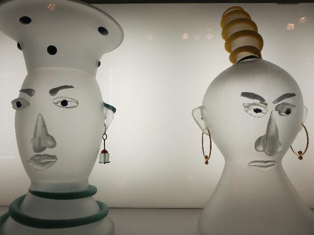 """The Matron"" and ""The Shrew"" art by Dan Dailey on display at The Corning Museum of Glass in Corning New York"