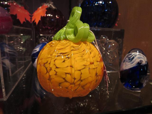 Halloween glass pumpkin at The Corning Museum of Glass in Corning, New York