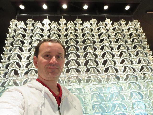 "At ""Cascade Wall"" by George Thompson on display at The Corning Museum of Glass in Corning New York"