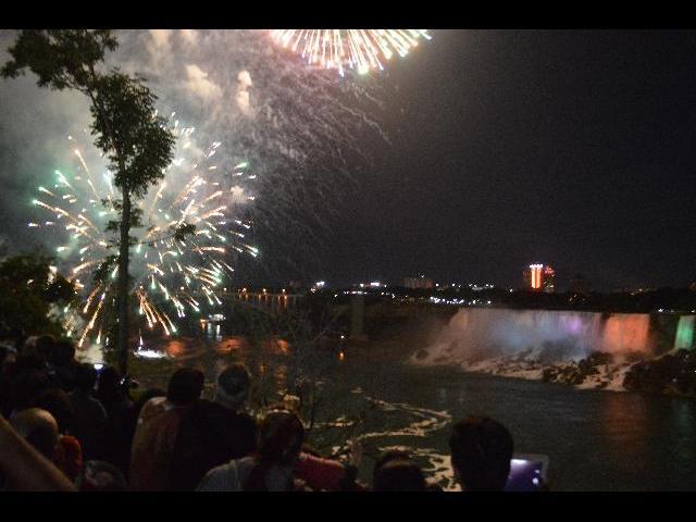 Fireworks over Niagara Falls Illumination Horseshoe Falls, Ontario, Canada