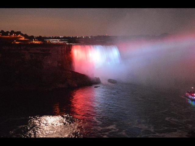 The Niagara Falls Illumination, at Niagara Falls, Horseshoe Falls, in Ontario, Canada