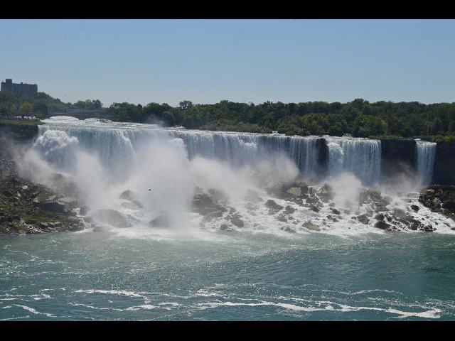 Niagara Falls, New York waterfalls as seen from Niagara Falls, Horseshoe Falls, Ontario, Canada