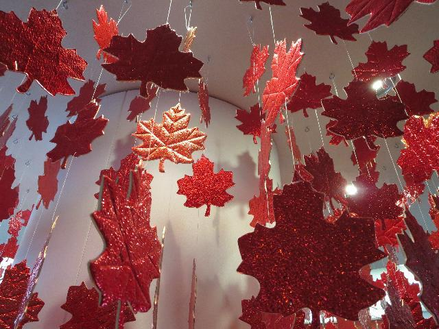 Canadian red maple Leaf symbol from The National Flag of Canada mobile art display in Niagara Falls, Ontario, Canada