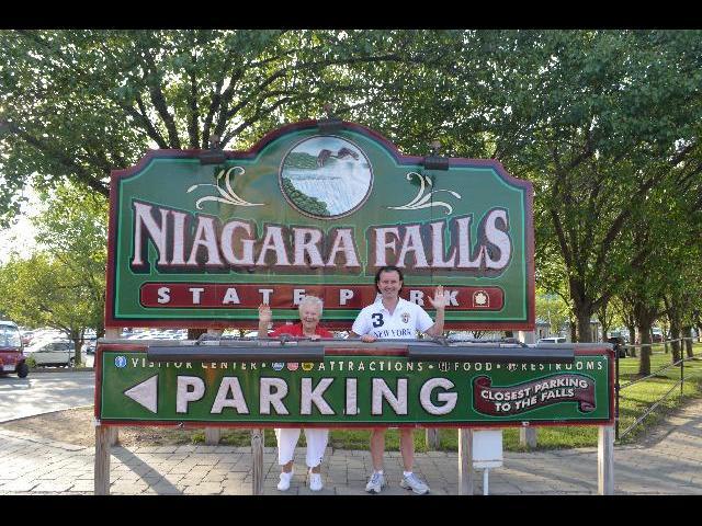 Waving hello and visiting Niagara Falls State Park, New York, USA United States of America