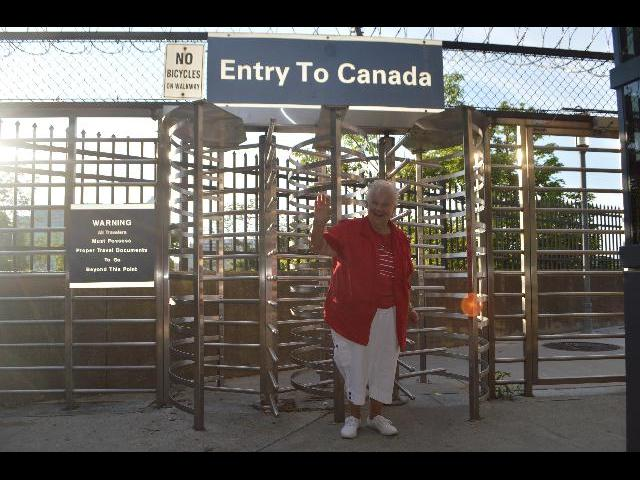 Crossing the border at the Entry To Canada across Rainbow Bridge to the Canadian Province of Ontario from New York state, United States of America
