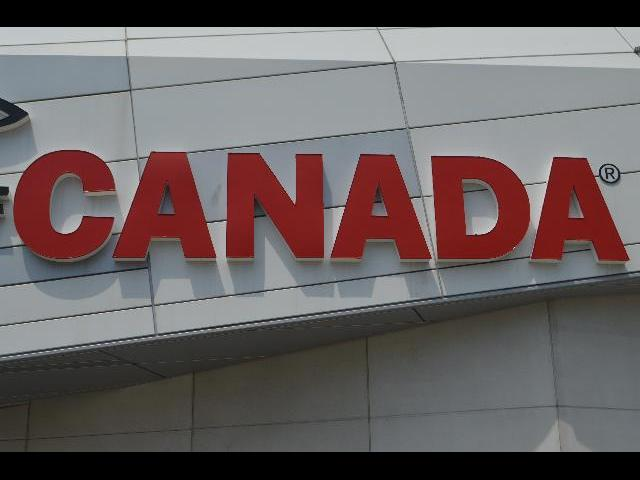Red Canada sign in Toronto, Ontario