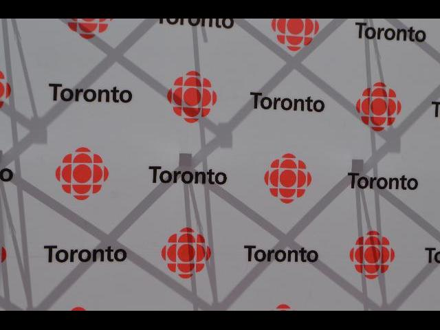 Red carpet step and repeat wallpaper for CBC Canadian Broadcasting Corporation television news in Toronto, Ontario, Canada