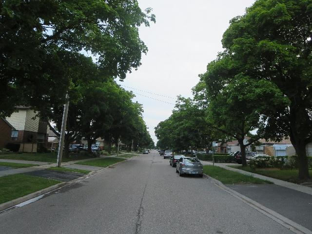 Quiet residential street in Toronto, Ontario, Canada