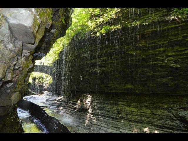 Natural water drip in Watkins Glen State Park, Finger Lakes, New York
