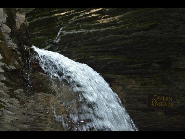 Cavern Cascade Waterfall in Watkins Glen State Park, Finger Lakes, New York