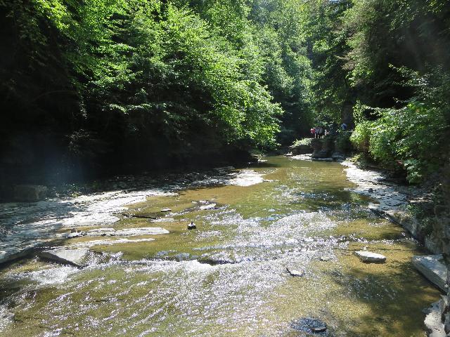 River water flowing through Watkins Glen State Park, Finger Lakes, New York