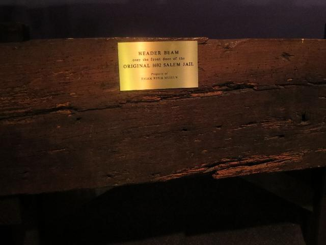 "The Salem Witch Trials ""Header Beam over the front door of the original 1692 Salem Jail"" at The Salem Witch Museum in Salem, Massachusetts, USA"