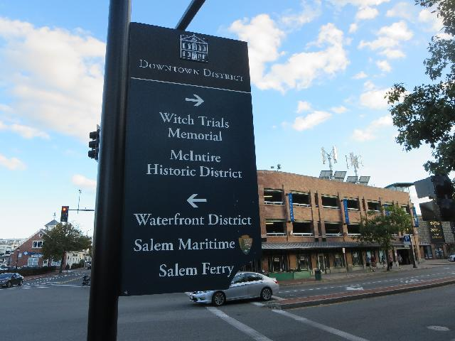 Witch Trials Memorial sign in Salem, Massachusetts, USA